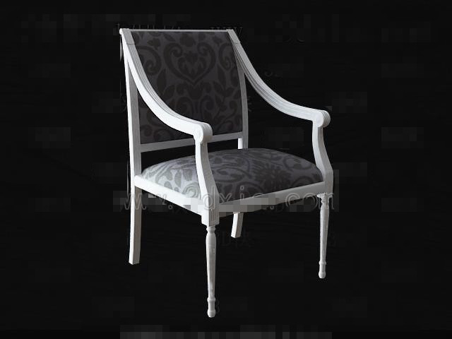 White wooden fabric chair 3D Model