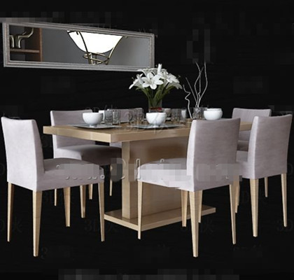 White wooden simple dining table 3D Model