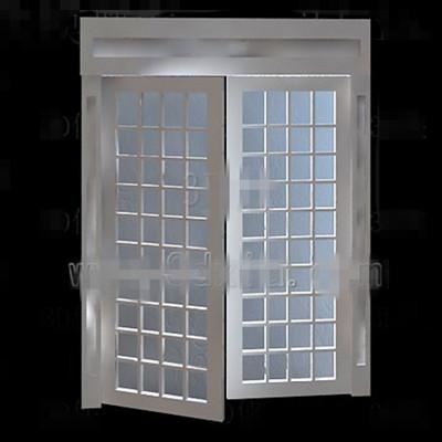 White wooden simple glass door 3D Model