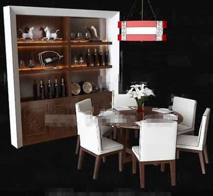 White wooden tables and chairs cabinet combination 3D Model