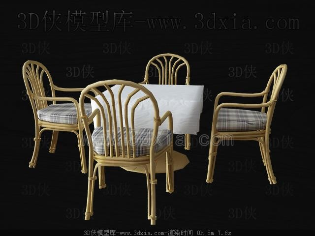 Wicker chairs and dining table 3D Model