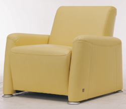 Widened soft yellow fabric sofa single 3D model (including materials)