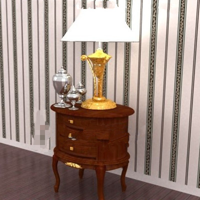 Wood brown round bedside cabinet 3D Model