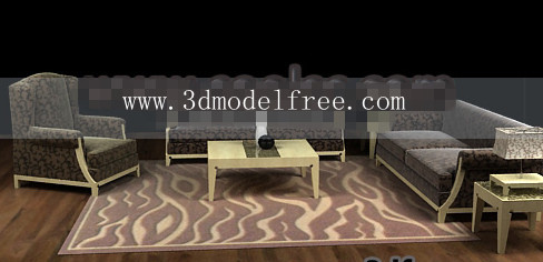 Wood cloth soft sofa combination 3D Model