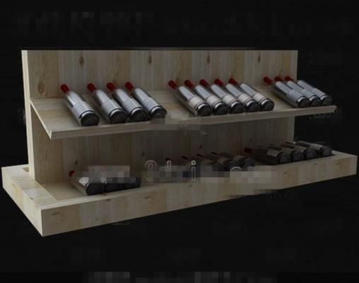 Wood primary color simple wine cabinet 3D Model
