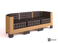 Wood sense Plaid three seats sofa 3D Model