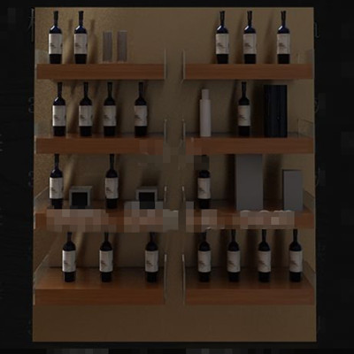 Wooden bookshelf-style wine cabinet 3D Model