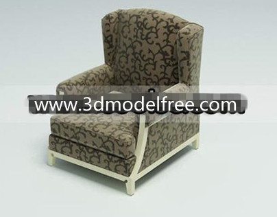 Wooden bottom fabric single sofa 3D Model