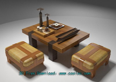 Wooden craft table 3D Model