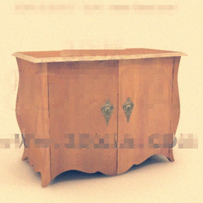 Wooden double doors bedside cabinet 3D Model
