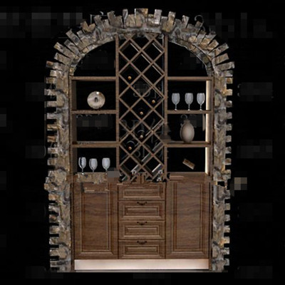 Wooden embedded display wine cabinet 3D Model