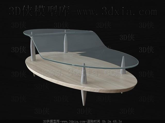Wooden glass combination tea table 3D Model