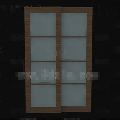 Wooden glass horizontal pull double doors 3D Model