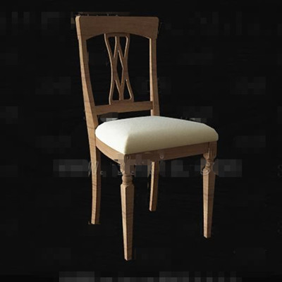 Wooden hollow seatback chair 3D Model
