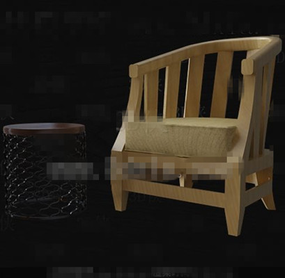 Wooden primary color single sofa 3D Model