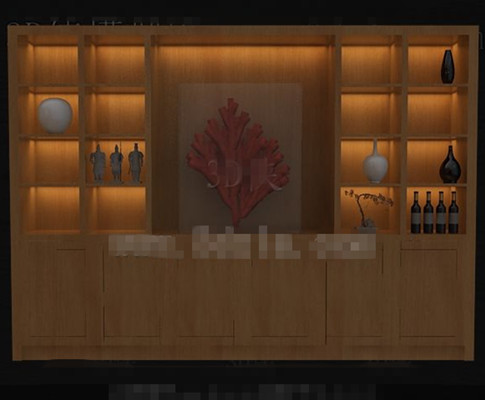 Wooden red wine display cabinet 3D Model