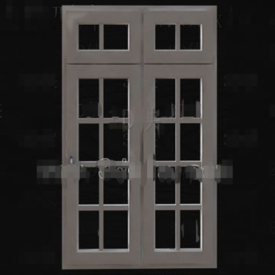 Wooden simple with transoms door 3D Model
