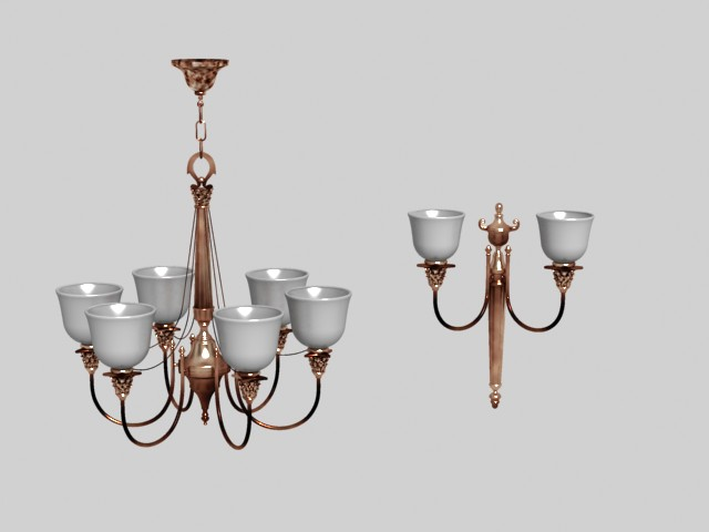 Wrought iron ceramic droplight 3D models