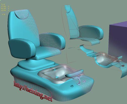 Xiu enough chairs pedicure chair 3dsmax 9 format model