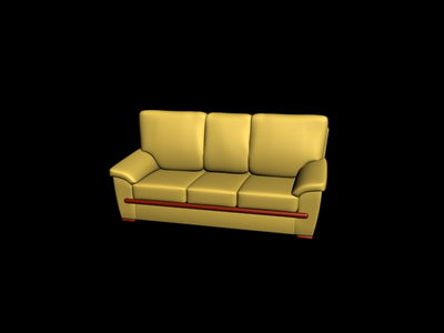 yellow and soft sofa 3D Model