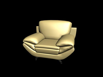 Yellow antique sofa 3D model