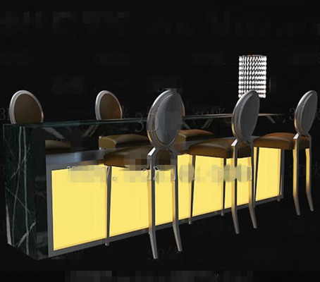 Yellow bar chairs combination 3D Model