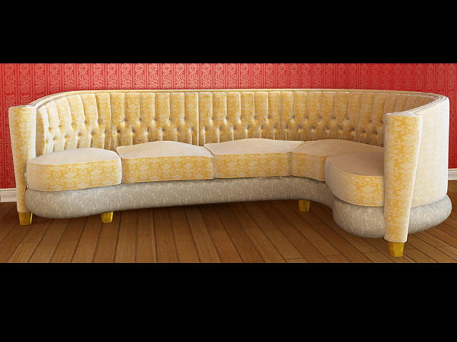 Yellow cloth sofa 3D model people (including materials)