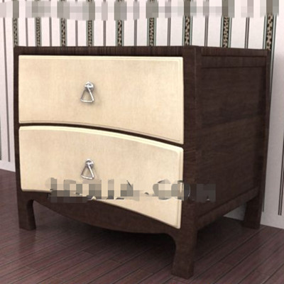 Yellow double-layer drawers bedside cabinet 3D Model