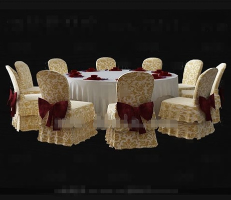 Yellow great circle table and chairs combination 3D Model