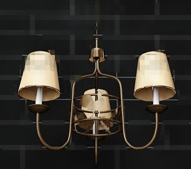 Yellow lampshade metal frame pendant 3D Model