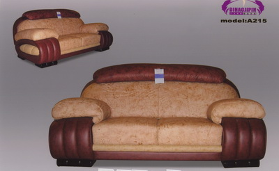 Yellow leather sofa 3D model over the boss