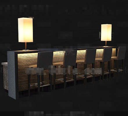 Yellow light leisure wine bar 3D Model