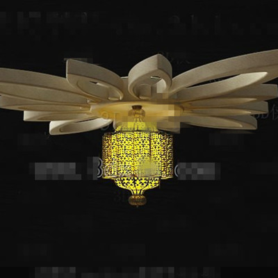 Yellow petal-style chandeliers 3D Model