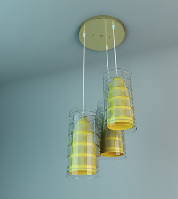 Yellow stripes exquisite chandelier 3D Model