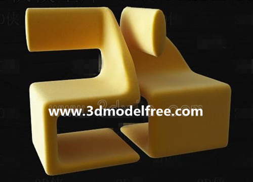 Yellow stylish Leisure chair 3D Model