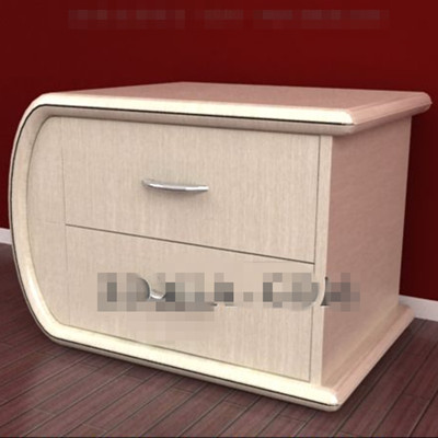 Yellowish curved bedside cabinets 3D Model