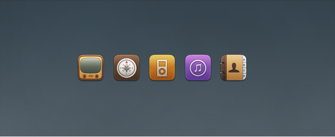 Youtube, Compass, iPod, iTunes, and Contacts Replacement Icons PSD