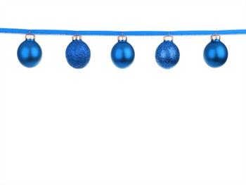 Blue Baubles On A Ribbon Free JPG