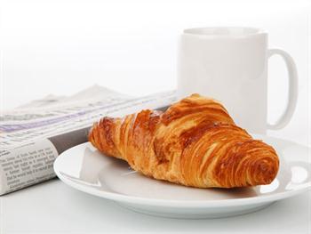 Croissant Newspaper And Tea Free JPG