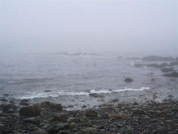 Ocean-Rocks In Fog Free JPG