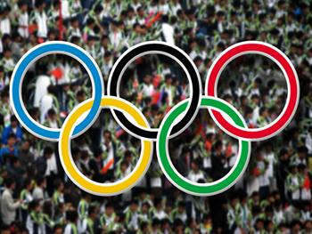 Olympic Rings And Crowd