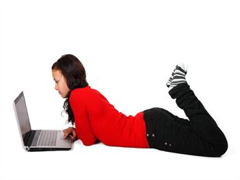 Woman Lying With Laptop