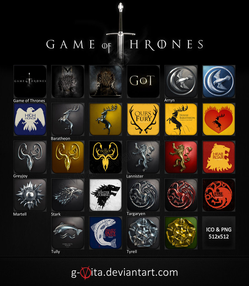 game of thrones desktop icons