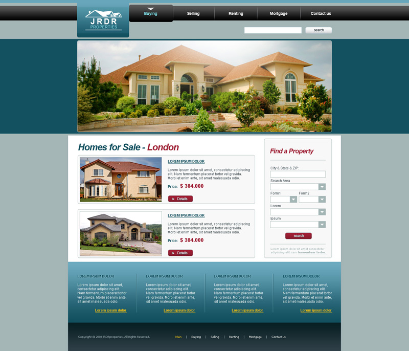 Homes For Sale Website Design Free Download