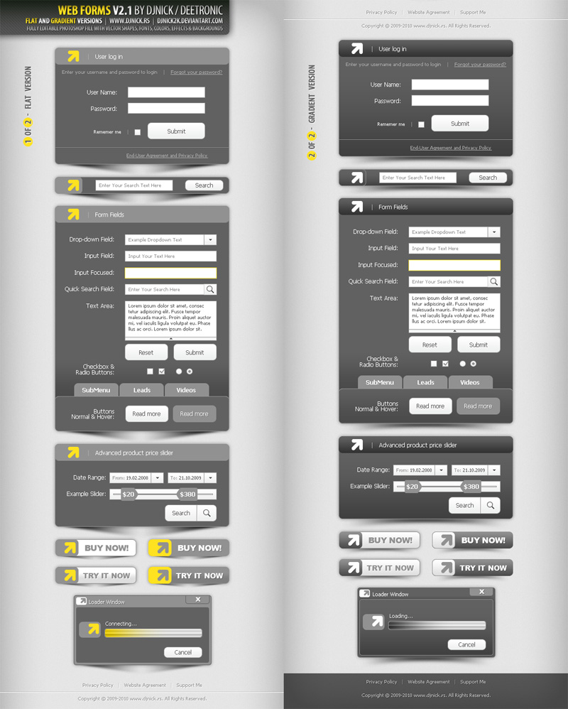 Web Forms V3.0 layered PSD