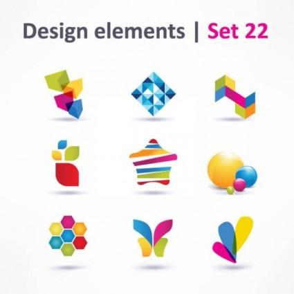 beautiful color threedimensional logo 04 vector