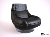 Black leather swivel chair 3D model