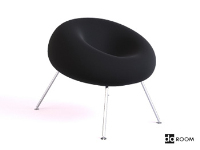 Black suede leg lounge chair