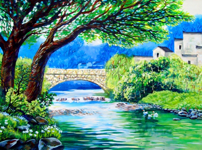 Brook village oil painting picture material