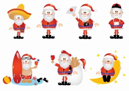 Cartoon Santa Vector Set